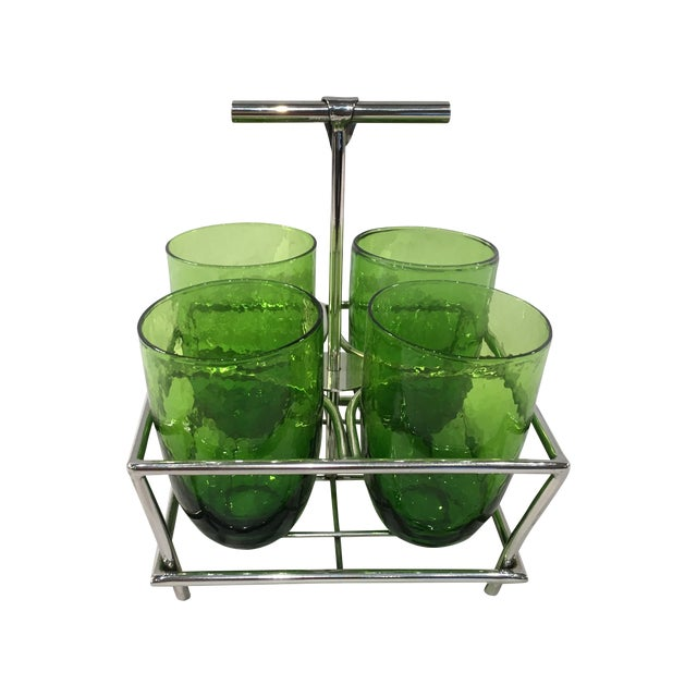 Image of Green Glass Double Old Fashioneds with Caddy