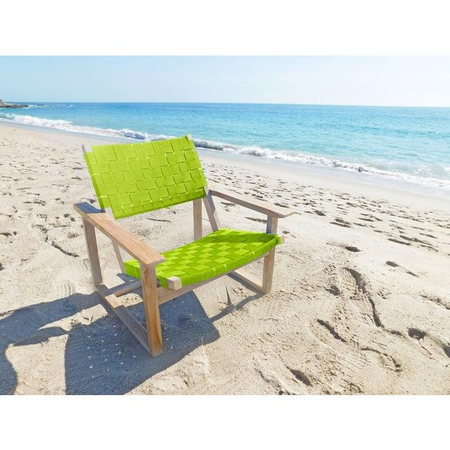 Green Sunbrella Leon Teak Lounge Chair - Image 3 of 3