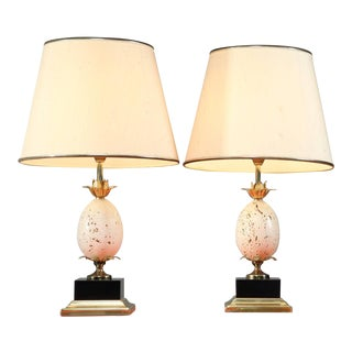 Pair of French Table or Console Lamps with Travertine Ostrich Egg