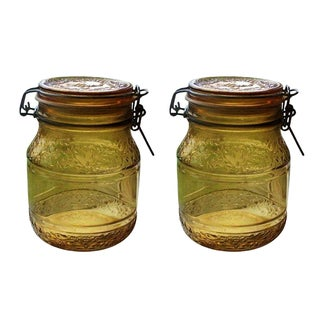 Vintage Floral Cove Amber Glass Jars - A Pair
