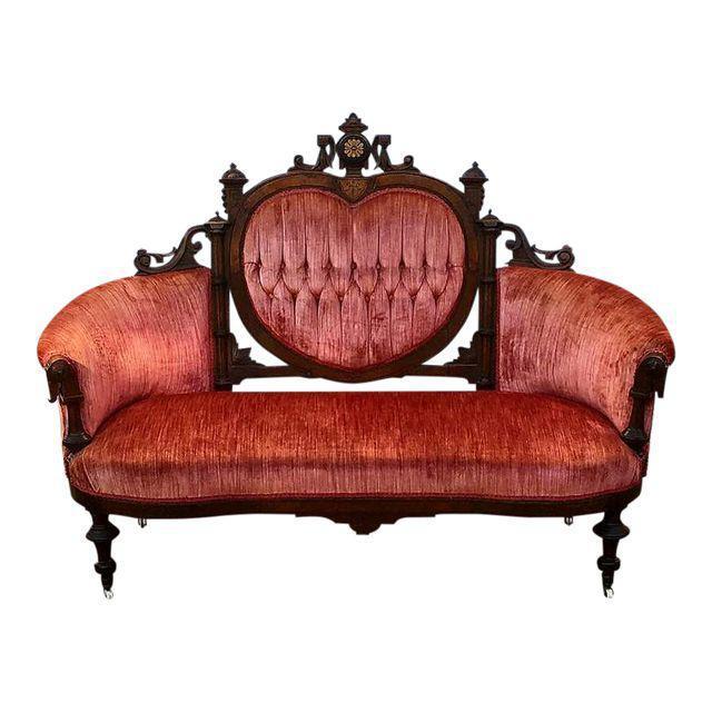 Antique Eastlake Heart-Back Red Velvet Settee & Chairs- Set of 3 - Image 3 of 9