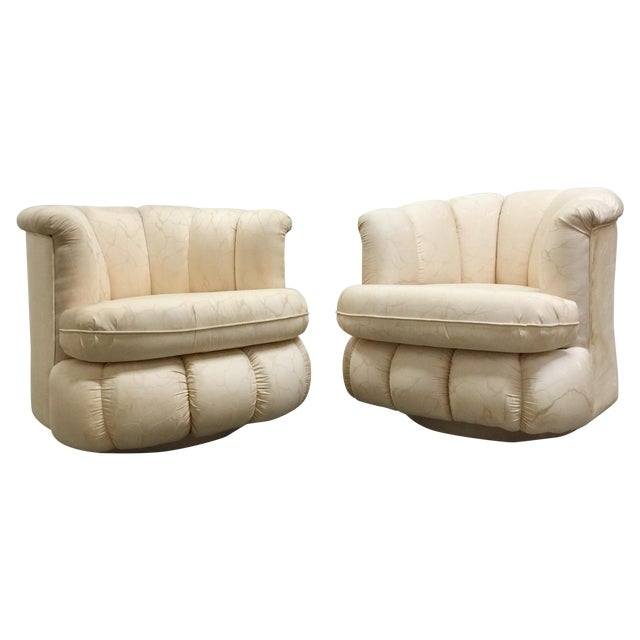 80s Glam Swivel Chairs - A Pair - Image 1 of 7