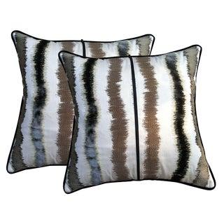 Iridescent Striped Throw Pillows - A Pair