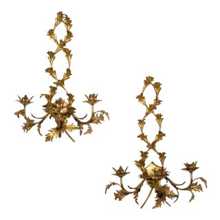 Italian Gilt Tole Candle Sconces, Pair of Two