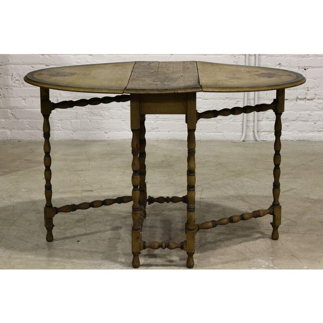 Painted wooden table with two leaves and spindles chairish for Wood balusters for tables