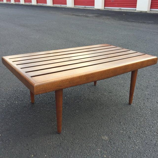Image of Mid-century Walnut Slat Rectangular End Table