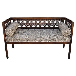 Vintage Tufted Cane Bench