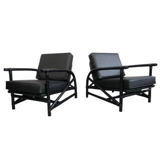 Pair Rattan Lounge Chairs