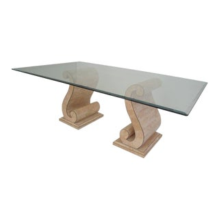 Maitland Smith Tesselated Pink Fossil Stone Dining Table