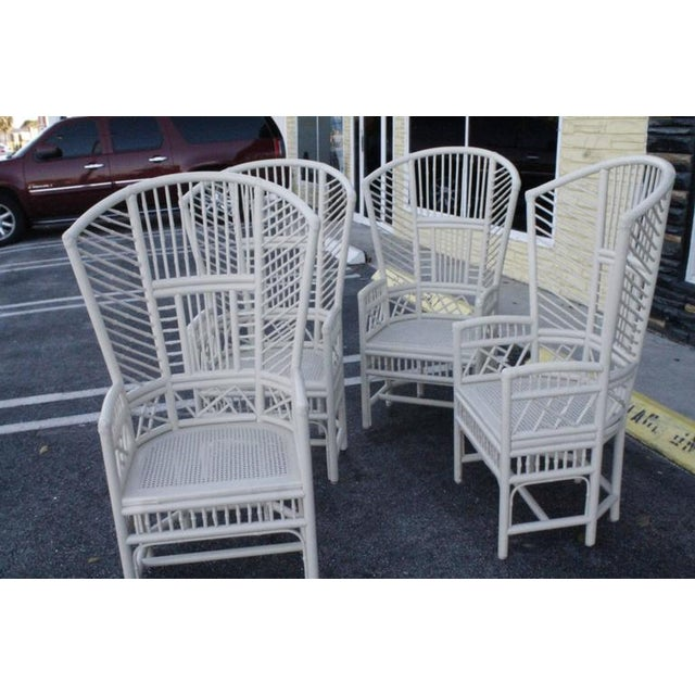 Brighton Pavilion High Back Rattan Chinese Chippendale Chairs - Set of 4 - Image 2 of 11
