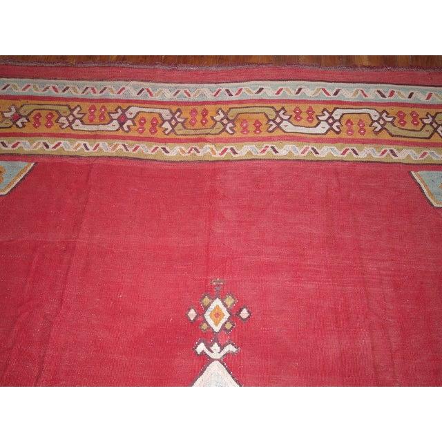 Vintage Turkish Flat Weave Rug: Antique Turkish Kilim Flat Weave Rug