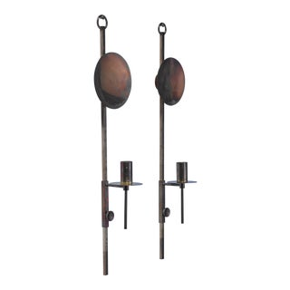 Pair of adjustable brass candle sconces, Denmark, 1960s