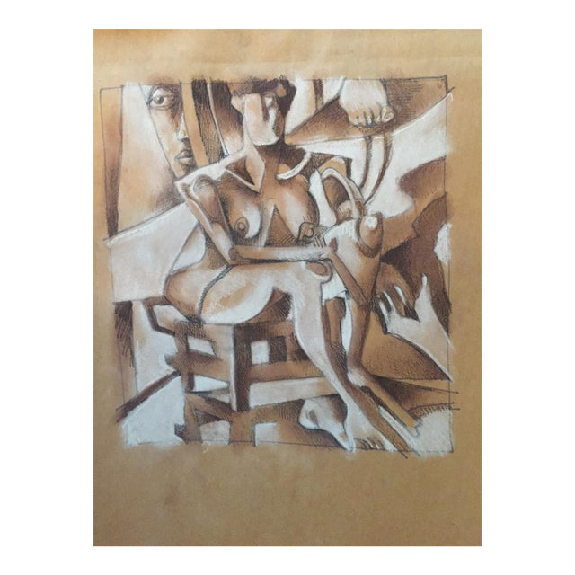 Vintage Cubist Style Drawing - Image 1 of 5