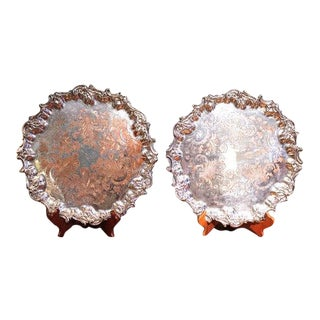 English Silver on Copper Salvers Trays - a Pair