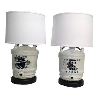 19C. Japanese Sake Jug Lamps - A Pair