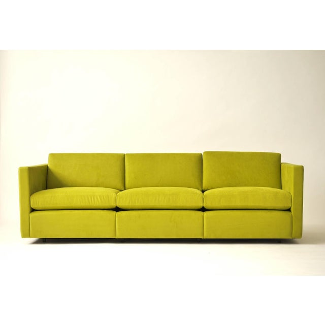 Charles Pfister For Knoll Sofa In Lime Ultrasuede Chairish