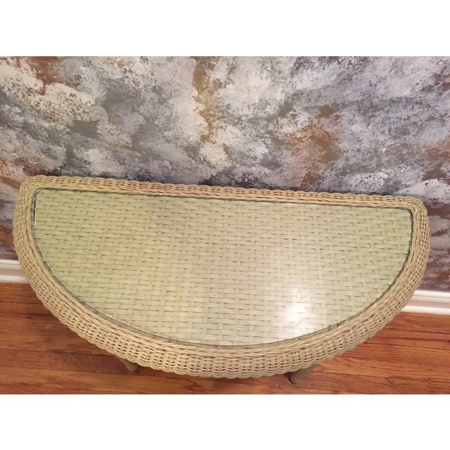 Rattan & Glass Pale Green Half Moon Console Table - Image 4 of 4