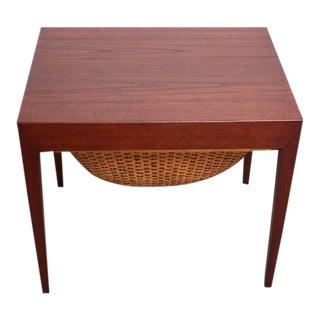 Teak and Rattan Sewing Table by Severin Hansen Jr. for Haslev Mobelsnedkeri