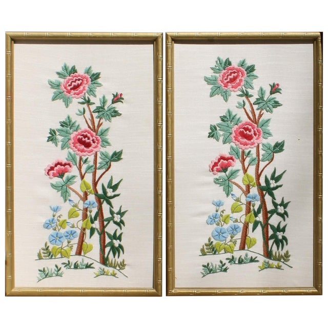 Vintage Needlepoint Pictures - Pair - Image 1 of 7