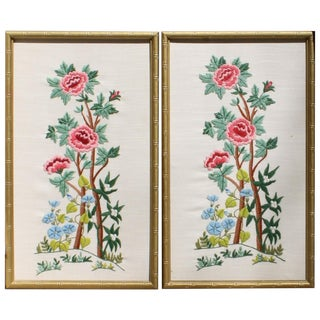 Vintage Needlepoint Pictures - Pair