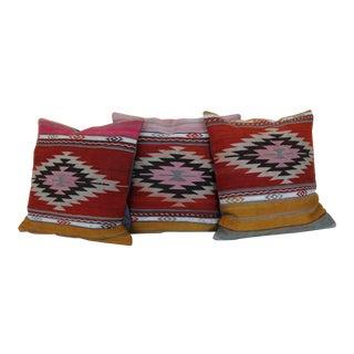 18'' Antique Turkish Kilim Rug Pillows - Set of 3