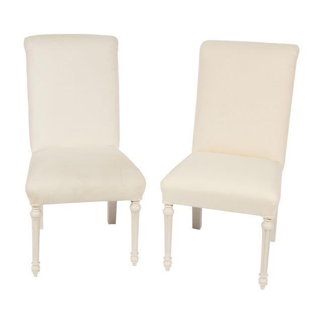 Monochrome Armless French-Style Chairs- A Pair - Image 1 of 4