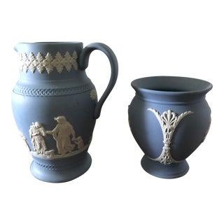 Antique Wedgwood Pitcher & Vase - A Pair