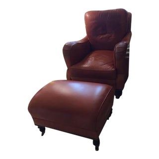 Williams-Sonoma Leather Chair & Ottoman