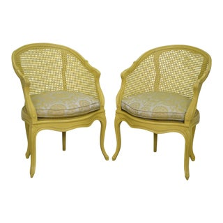 French Louis XV Style Yellow Barrel Back Caned Bergere Arm Chairs circa 1950s - a Pair