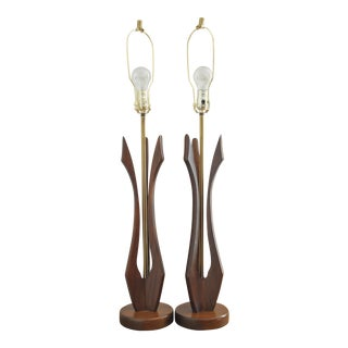 Sculptured Walnut Mid-Century Lamps - A Pair