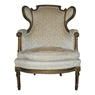 Antique French Carved Gold Gilt Bergere Chair
