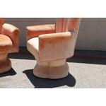 Image of Velvet Highback Swivel Chairs - A Pair