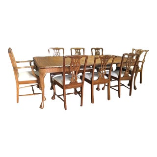 Traditional 9-Piece Queen Anne Dining Table Set W/ Leafs