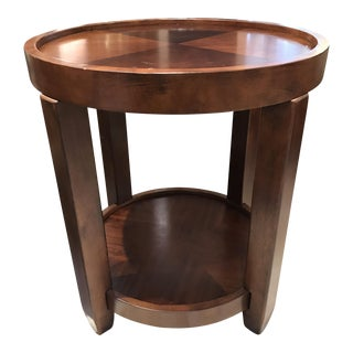 Round Wood Tray Side Table