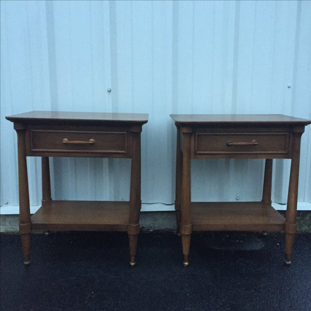 Mid-Century End Tables With Single Drawer - Pair - Image 4 of 12