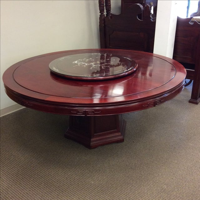 """72"""" Rosewood Table With Lazy Susan Dining Set - Image 6 of 9"""