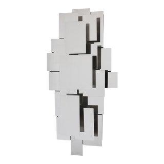 Reggiani Style Polished Steel Wall Light Sculpture