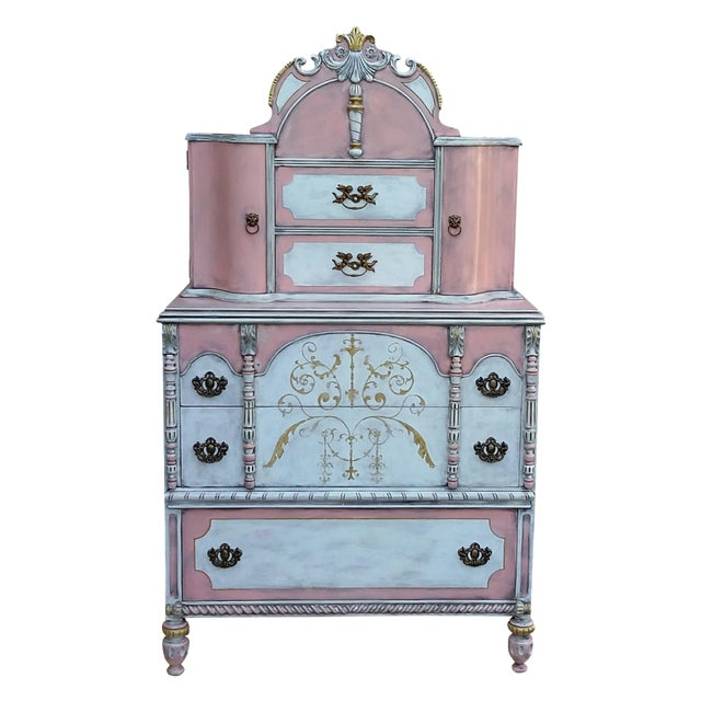 Antiqued Pink & Gold French-Style Dresser - Image 1 of 11