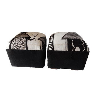 Black & White Korhogo Cloth Ottomans- a Pair