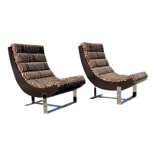 Mid-Century Chrome Scoop Chairs - A Pair