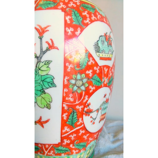 Image of Vintage Hand Painted Asian Peacock Motif Vase