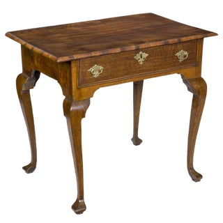 Provincial Oak & Elm Queen Anne Side Table with Drawer