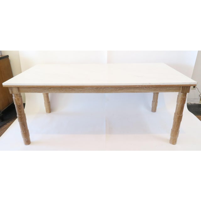 Custom Cersued Oak & Marble Dining Table - Image 2 of 6
