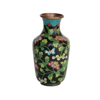 Medium Sized Black Cloisonne Vase