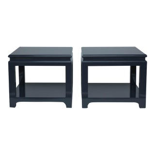 Large Lacquered End Tables - a Pair