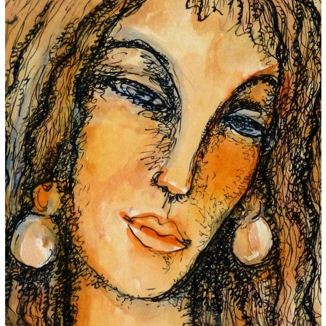 Image of Vintage Female Portrait Watercolor Painting