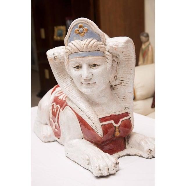 Pair of Glazed Terra Cotta Sphinx Figures - Image 5 of 8