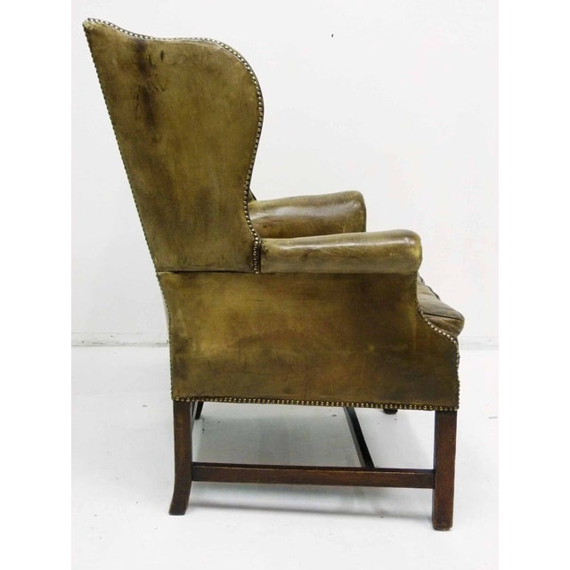 Distressed Leather 19th C. Wingback Chair - Image 5 of 10