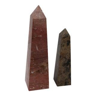 Mismatched Marble Obelisks - A Pair