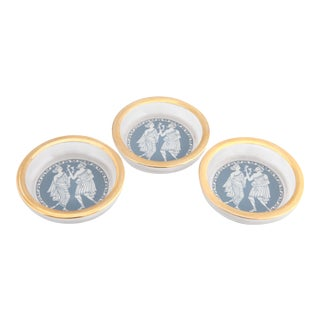 Neoclassical Design Jasper Ware Wedgewod English Mid Century Beverage Coasters - Set of 3